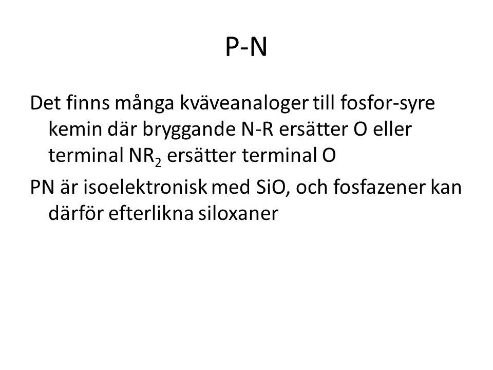 P-N Det finns många kväveanaloger till fosfor-syre kemin där bryggande N-R ersätter O eller terminal NR 2 ersätter terminal O PN är isoelektronisk med