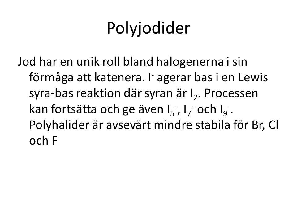 Polyjodider Jod har en unik roll bland halogenerna i sin förmåga att katenera. I - agerar bas i en Lewis syra-bas reaktion där syran är I 2. Processen