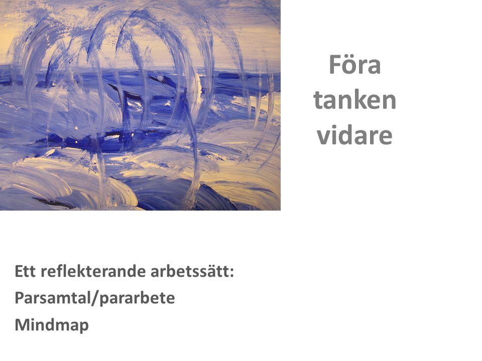 Föra tanken vidare Ett reflekterande arbetssätt: Parsamtal/pararbete Mindmap