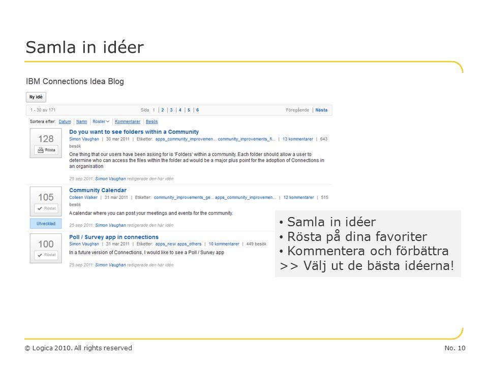 No. 10© Logica 2010. All rights reserved Samla in idéer Rösta på dina favoriter Kommentera och förbättra >> Välj ut de bästa idéerna!