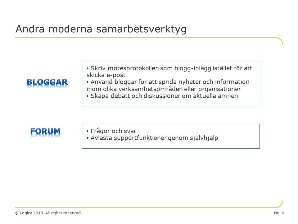 No. 9© Logica 2010. All rights reserved Andra moderna samarbetsverktyg Frågor och svar Avlasta supportfunktioner genom självhjälp Skriv mötesprotokoll