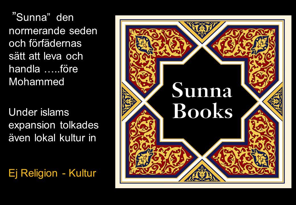 """"""" Sunna"""" den normerande seden och förfädernas sätt att leva och handla …..före Mohammed 21 Under islams expansion tolkades även lokal kultur in Ej Rel"""