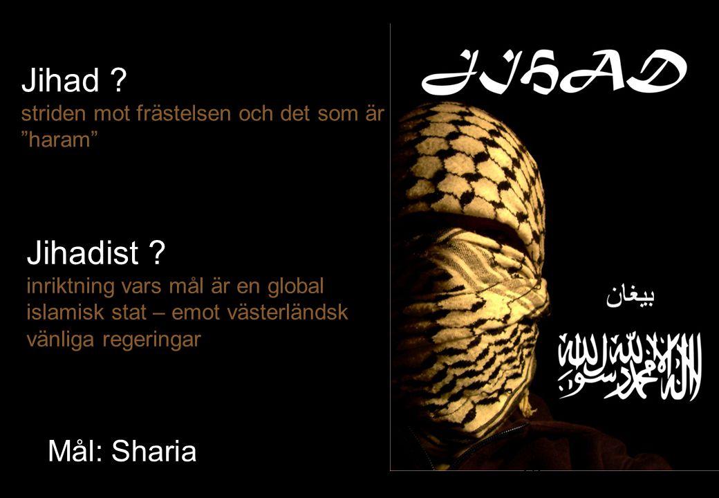 """Jihad ? striden mot frästelsen och det som är """"haram"""" 28 Mål: Sharia Jihadist ? inriktning vars mål är en global islamisk stat – emot västerländsk vän"""