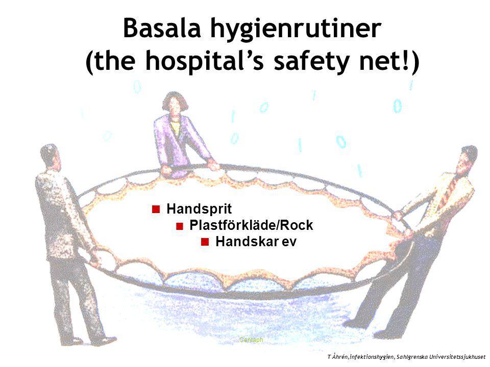 Centaph  Handsprit  Plastförkläde/Rock  Handskar ev Basala hygienrutiner (the hospital's safety net!) T Åhrén,infektionshygien, Sahlgrenska Universitetssjukhuset