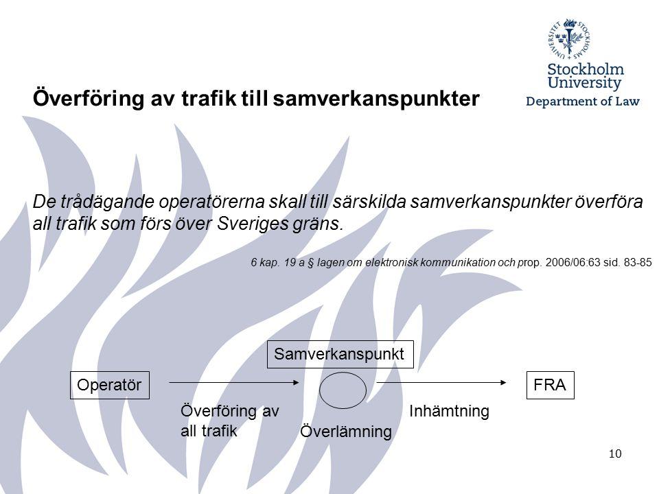 10 Överföring av trafik till samverkanspunkter De trådägande operatörerna skall till särskilda samverkanspunkter överföra all trafik som förs över Sveriges gräns.