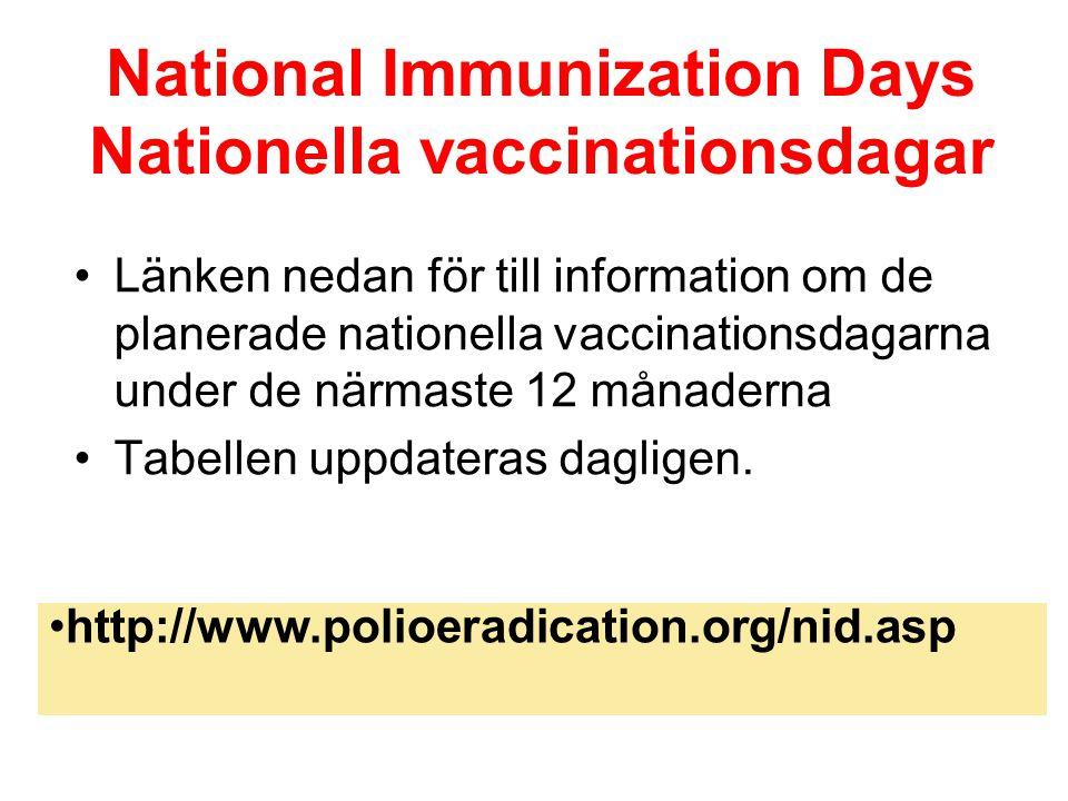 National Immunization Days Nationella vaccinationsdagar Länken nedan för till information om de planerade nationella vaccinationsdagarna under de närmaste 12 månaderna Tabellen uppdateras dagligen.