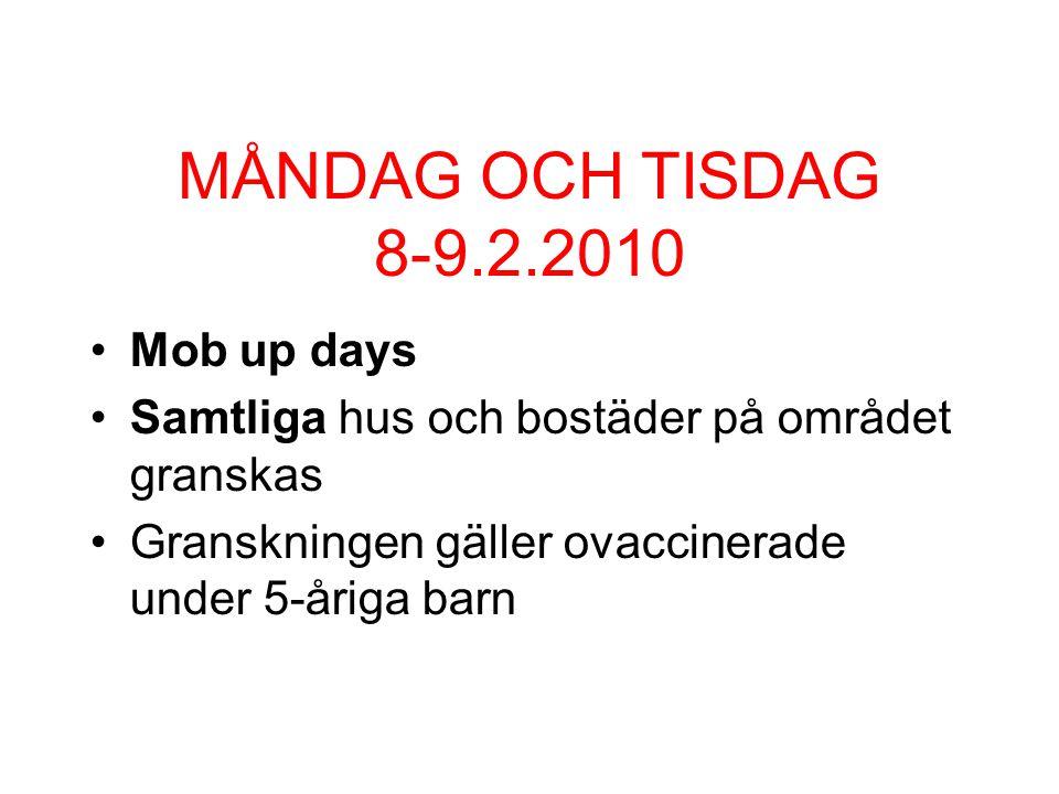 MÅNDAG OCH TISDAG 8-9.2.2010 Mob up days Samtliga hus och bostäder på området granskas Granskningen gäller ovaccinerade under 5-åriga barn