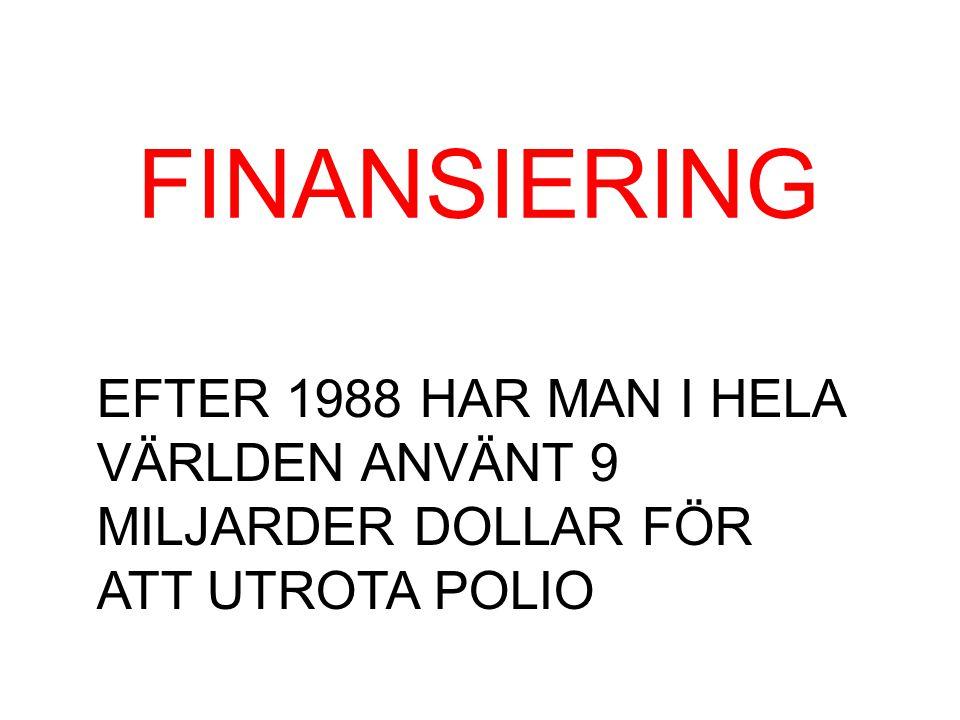 FINANSIERING EFTER 1988 HAR MAN I HELA VÄRLDEN ANVÄNT 9 MILJARDER DOLLAR FÖR ATT UTROTA POLIO