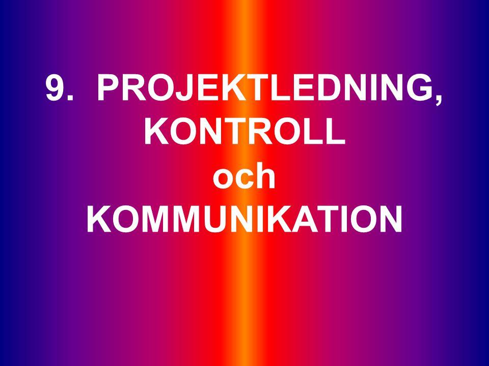 9. PROJEKTLEDNING, KONTROLL och KOMMUNIKATION