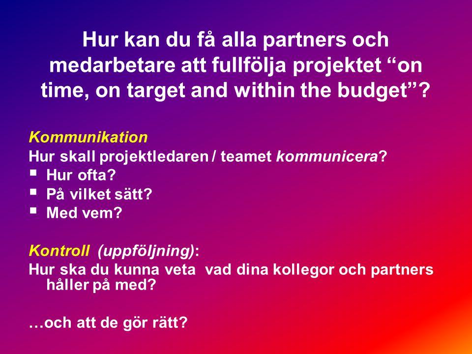 Hur kan du få alla partners och medarbetare att fullfölja projektet on time, on target and within the budget .