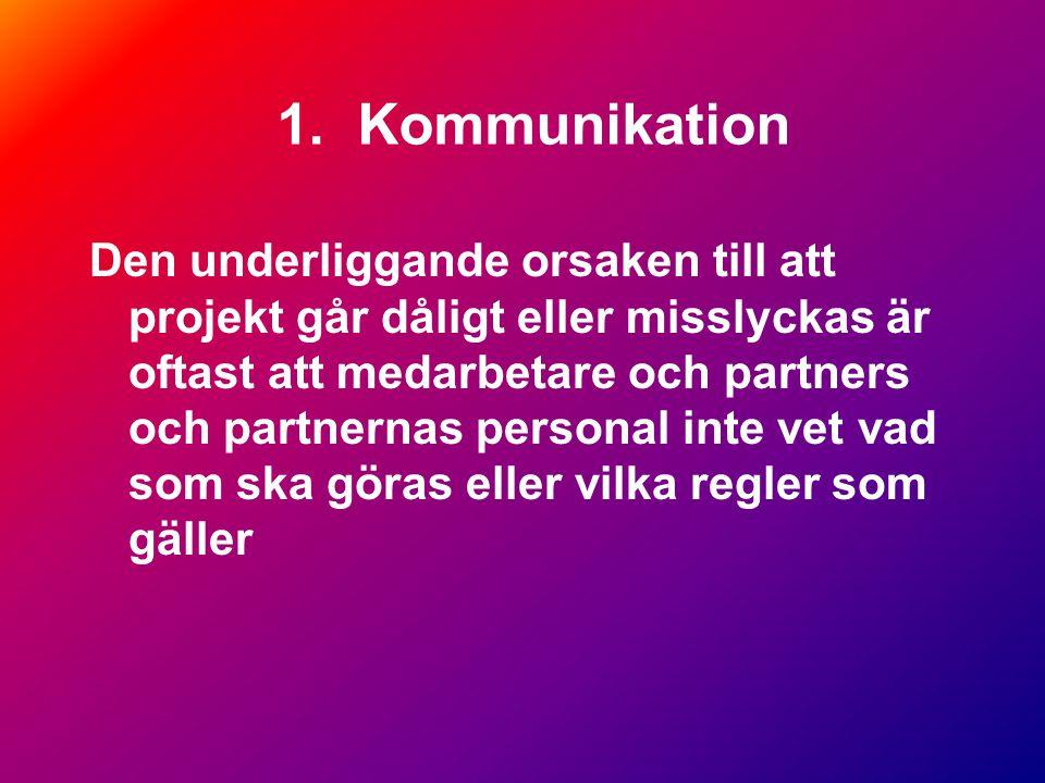 1. Kommunikation Den underliggande orsaken till att projekt går dåligt eller misslyckas är oftast att medarbetare och partners och partnernas personal