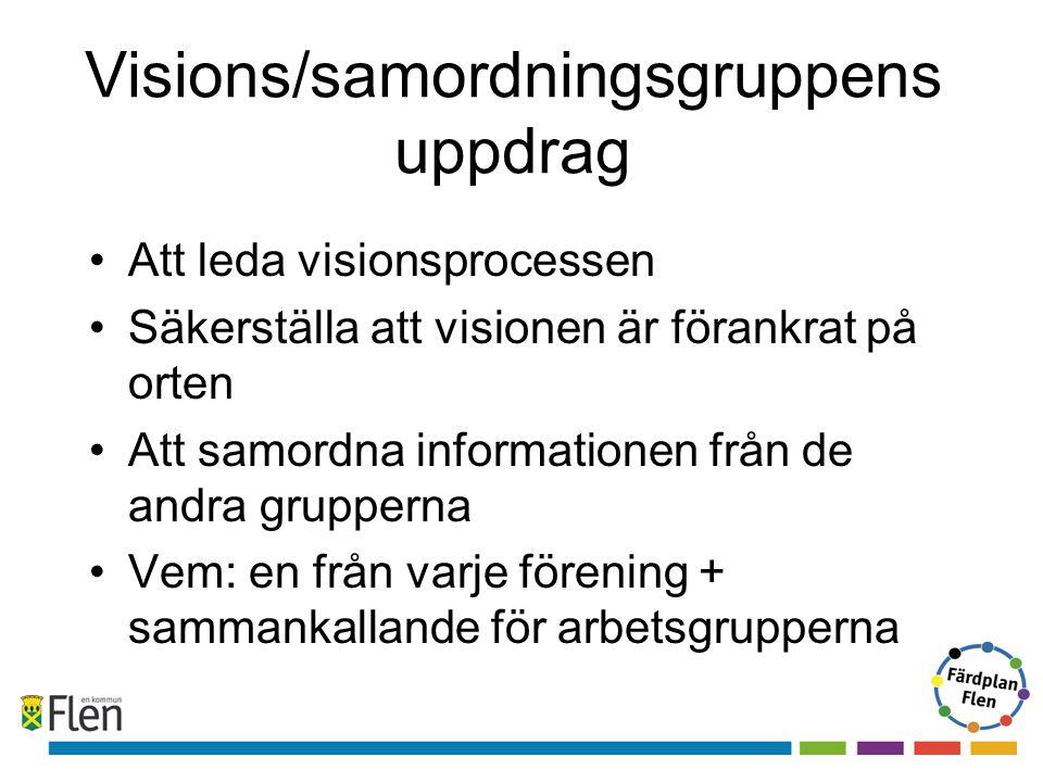 Visions/samordningsgruppens uppdrag Att leda visionsprocessen Säkerställa att visionen är förankrat på orten Att samordna informationen från de andra grupperna Vem: en från varje förening + sammankallande för arbetsgrupperna