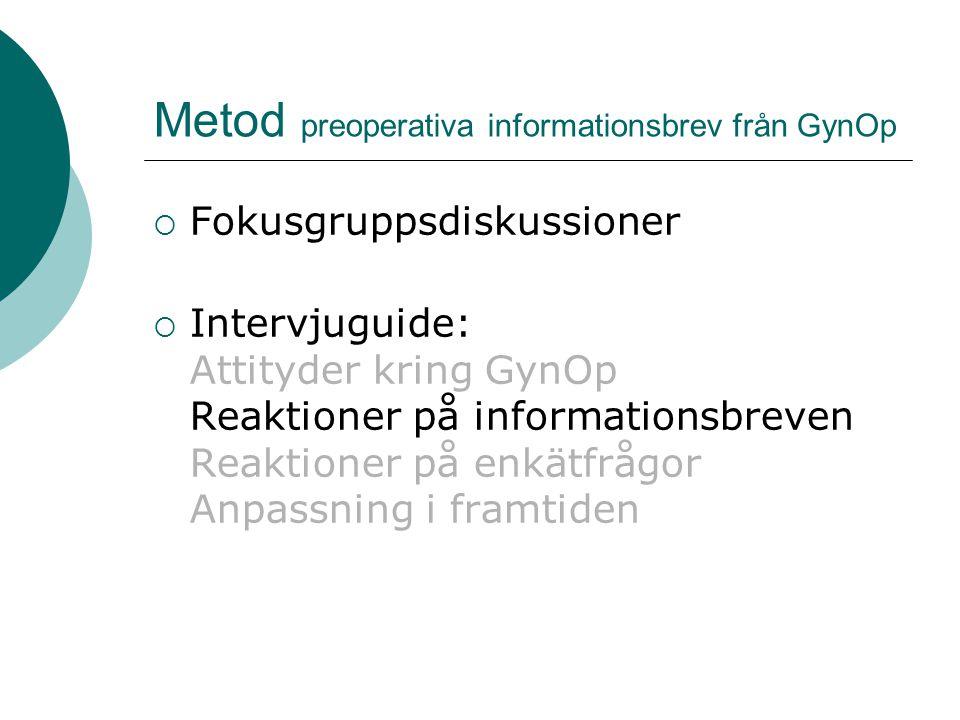Metod preoperativa informationsbrev från GynOp  Fokusgruppsdiskussioner  Intervjuguide: Attityder kring GynOp Reaktioner på informationsbreven Reaktioner på enkätfrågor Anpassning i framtiden