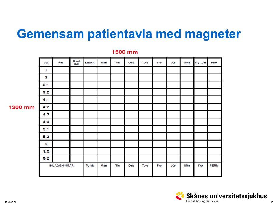 122015-03-21 Gemensam patientavla med magneter Nivå ett – Nivå två Bildmarkering