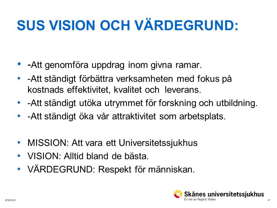 472015-03-21 SUS VISION OCH VÄRDEGRUND: - Att genomföra uppdrag inom givna ramar. -Att ständigt förbättra verksamheten med fokus på kostnads effektivi