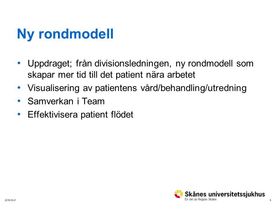 5 Ny rondmodell Uppdraget; från divisionsledningen, ny rondmodell som skapar mer tid till det patient nära arbetet Visualisering av patientens vård/be