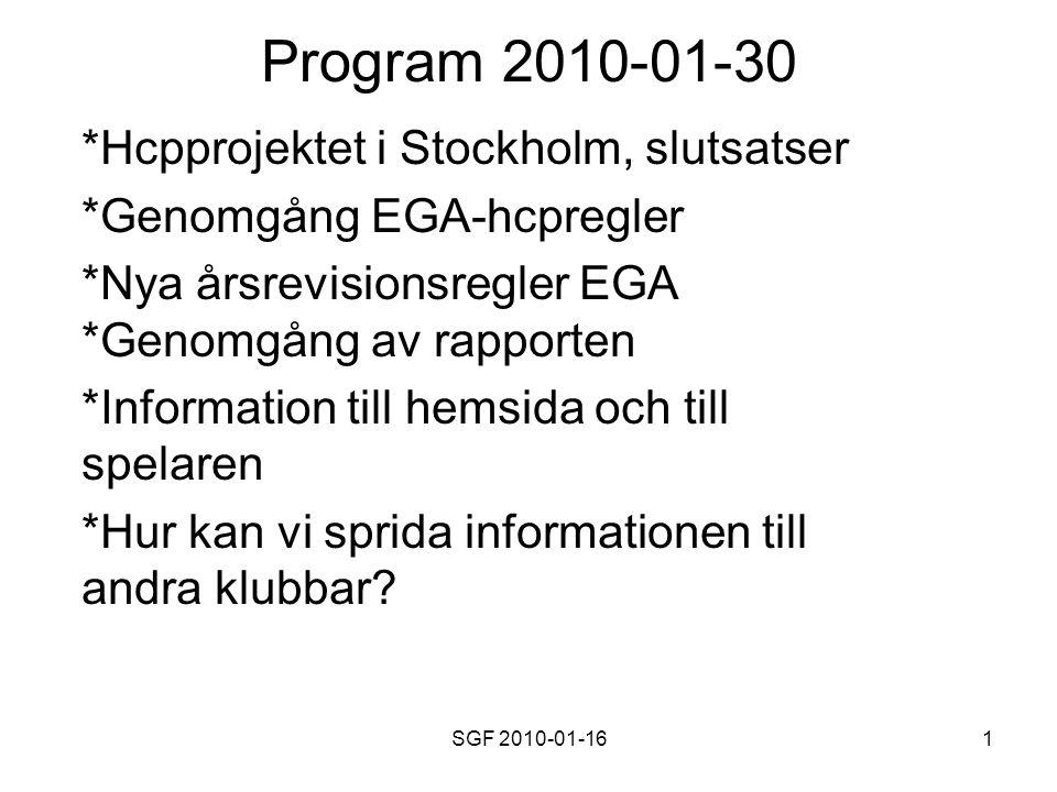 SGF 2010-01-161 Program 2010-01-30 *Hcpprojektet i Stockholm, slutsatser *Genomgång EGA-hcpregler *Nya årsrevisionsregler EGA *Genomgång av rapporten *Information till hemsida och till spelaren *Hur kan vi sprida informationen till andra klubbar?