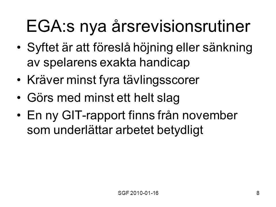 SGF 2010-01-168 EGA:s nya årsrevisionsrutiner Syftet är att föreslå höjning eller sänkning av spelarens exakta handicap Kräver minst fyra tävlingsscorer Görs med minst ett helt slag En ny GIT-rapport finns från november som underlättar arbetet betydligt