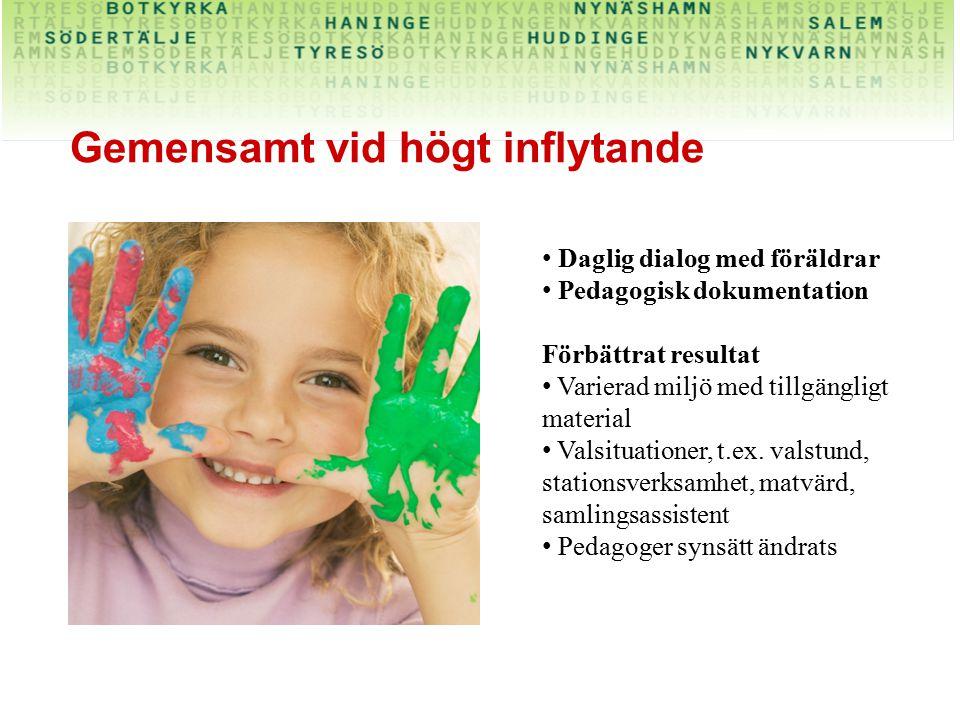 Gemensamt vid högt inflytande Daglig dialog med föräldrar Pedagogisk dokumentation Förbättrat resultat Varierad miljö med tillgängligt material Valsit