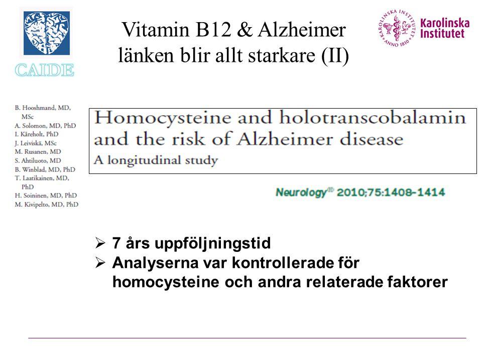 Vitamin B12 & Alzheimer länken blir allt starkare (II)  7 års uppföljningstid  Analyserna var kontrollerade för homocysteine och andra relaterade fa