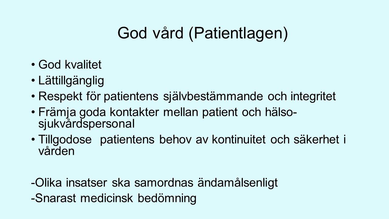 God vård (Patientlagen) God kvalitet Lättillgänglig Respekt för patientens självbestämmande och integritet Främja goda kontakter mellan patient och hälso- sjukvårdspersonal Tillgodose patientens behov av kontinuitet och säkerhet i vården -Olika insatser ska samordnas ändamålsenligt -Snarast medicinsk bedömning