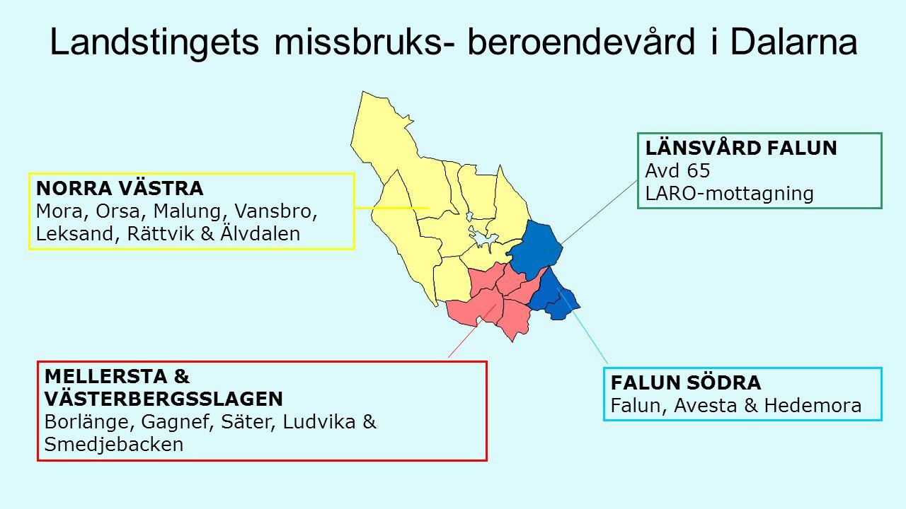 Landstingets missbruks- beroendevård i Dalarna NORRA VÄSTRA Mora, Orsa, Malung, Vansbro, Leksand, Rättvik & Älvdalen FALUN SÖDRA Falun, Avesta & Hedemora MELLERSTA & VÄSTERBERGSSLAGEN Borlänge, Gagnef, Säter, Ludvika & Smedjebacken LÄNSVÅRD FALUN Avd 65 LARO-mottagning
