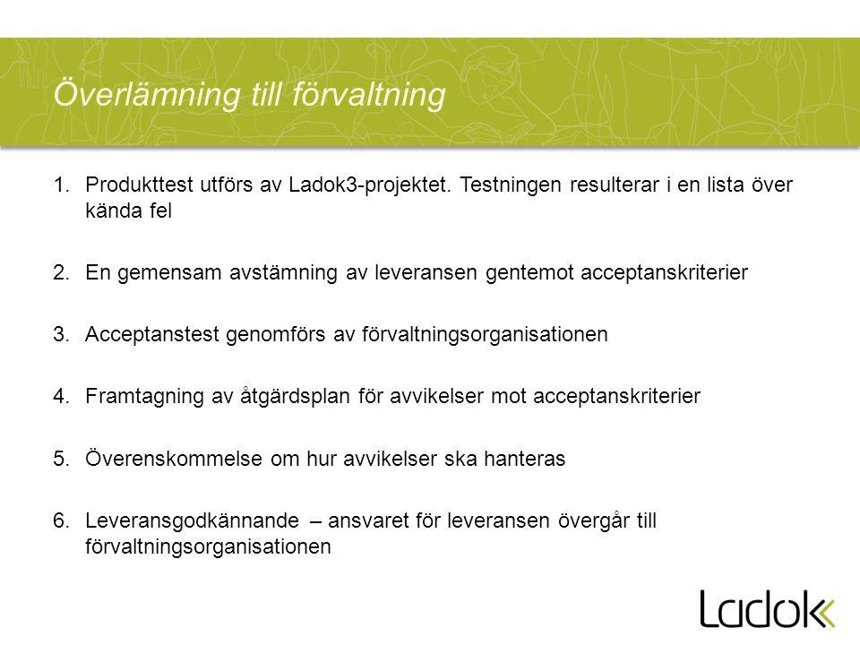 Överlämning till förvaltning 1.Produkttest utförs av Ladok3-projektet. Testningen resulterar i en lista över kända fel 2.En gemensam avstämning av lev