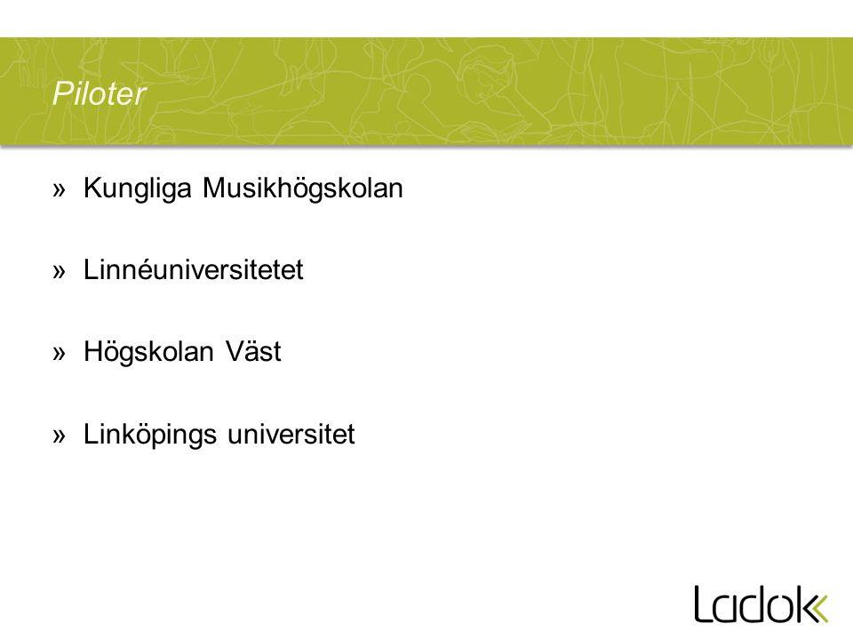 Piloter »Kungliga Musikhögskolan »Linnéuniversitetet »Högskolan Väst »Linköpings universitet