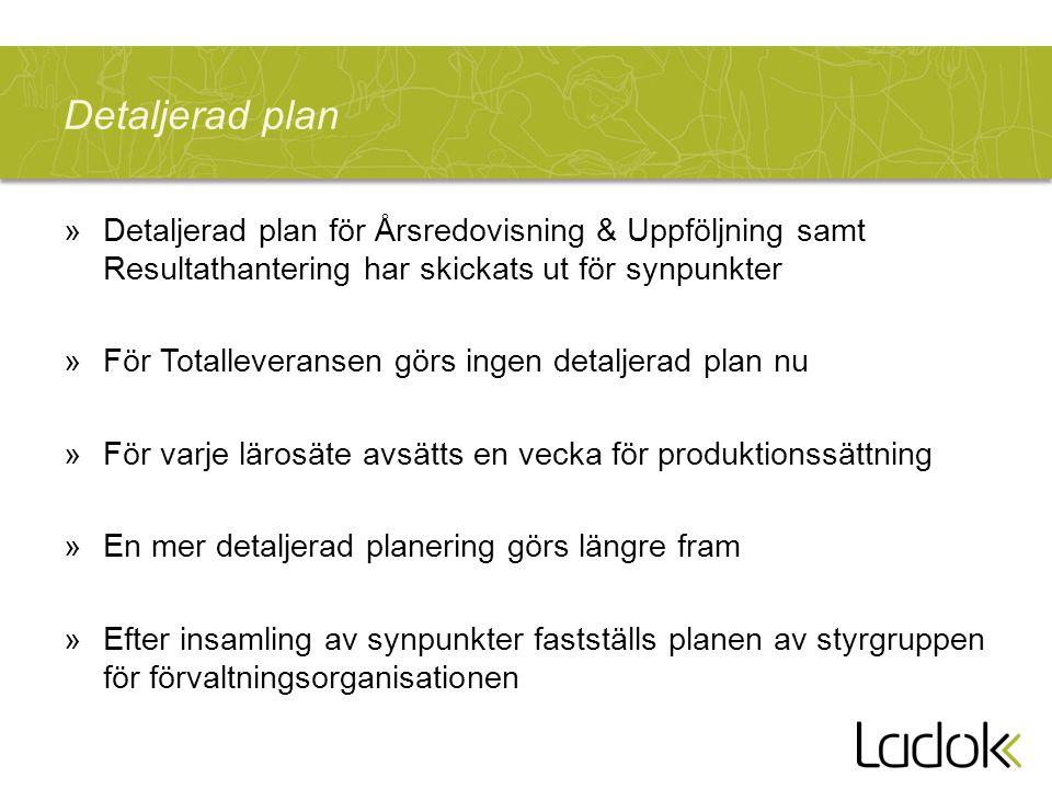 Detaljerad plan »Detaljerad plan för Årsredovisning & Uppföljning samt Resultathantering har skickats ut för synpunkter »För Totalleveransen görs inge