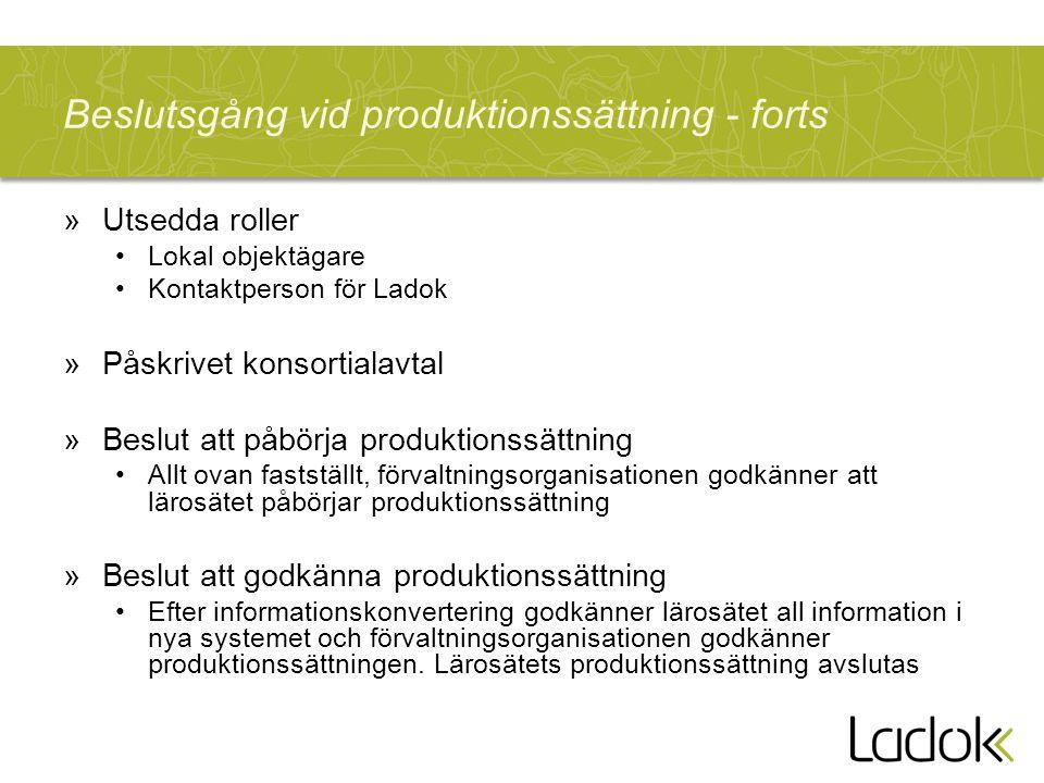 Beslutsgång vid produktionssättning - forts »Utsedda roller Lokal objektägare Kontaktperson för Ladok »Påskrivet konsortialavtal »Beslut att påbörja p