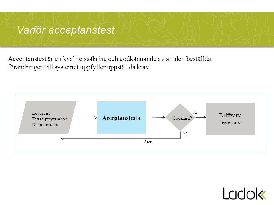Varför acceptanstest Acceptanstesta Driftsätta leverans Godkänd? Leverans Testad programkod Dokumentation Acceptanstest är en kvalitetssäkring och god