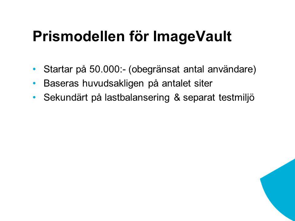 Prismodellen för ImageVault Startar på 50.000:- (obegränsat antal användare) Baseras huvudsakligen på antalet siter Sekundärt på lastbalansering & separat testmiljö
