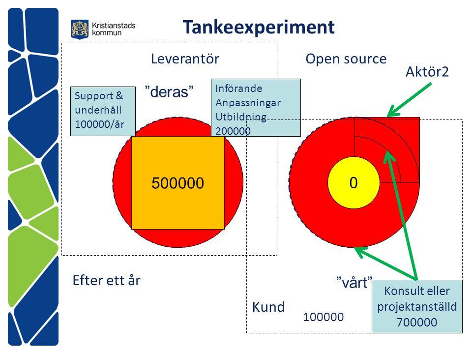 """""""deras"""" Behov Leverantör 500000 Kund Open source Införande Anpassningar Utbildning 200000 Support & underhåll 100000/år 0 Konsult eller projektanställ"""
