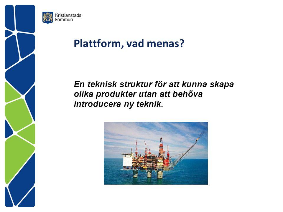 Plattform, vad menas? En teknisk struktur för att kunna skapa olika produkter utan att behöva introducera ny teknik.