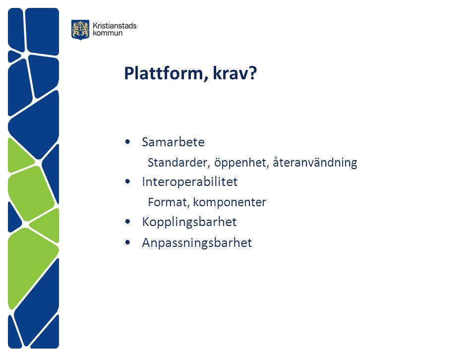 Plattform, krav? Samarbete Standarder, öppenhet, återanvändning Interoperabilitet Format, komponenter Kopplingsbarhet Anpassningsbarhet