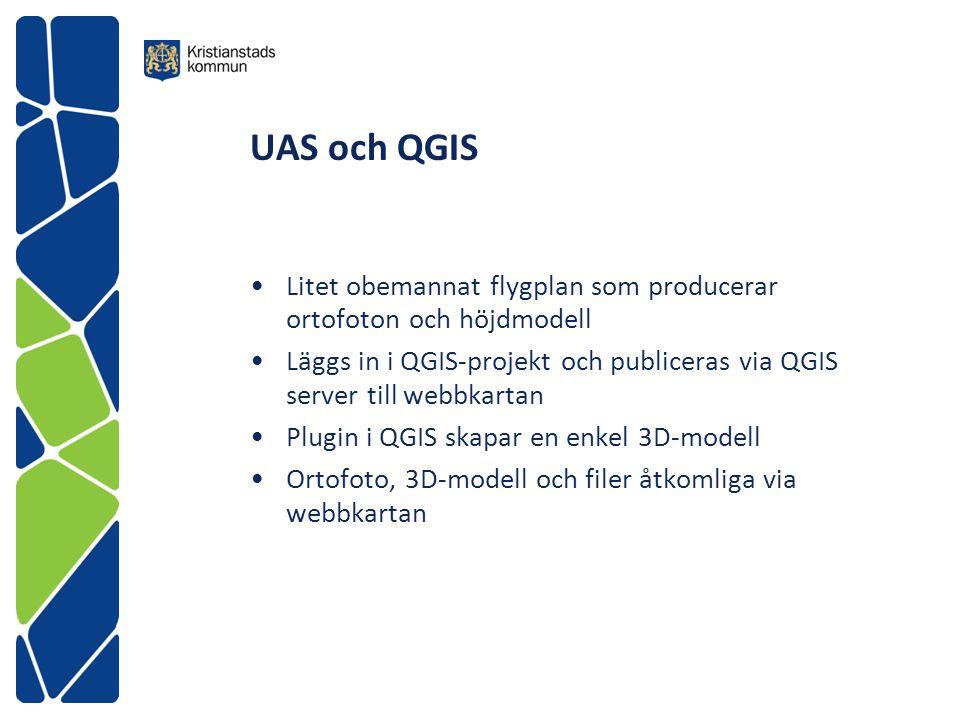 UAS och QGIS Litet obemannat flygplan som producerar ortofoton och höjdmodell Läggs in i QGIS-projekt och publiceras via QGIS server till webbkartan P