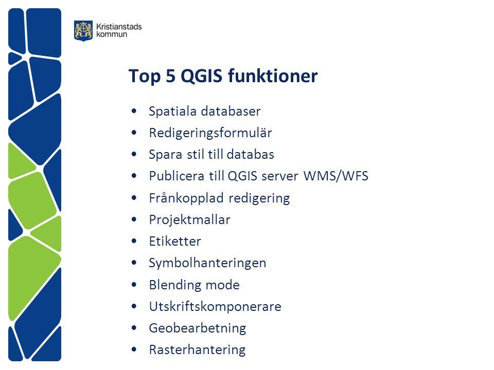 Top 5 QGIS funktioner Spatiala databaser Redigeringsformulär Spara stil till databas Publicera till QGIS server WMS/WFS Frånkopplad redigering Projekt