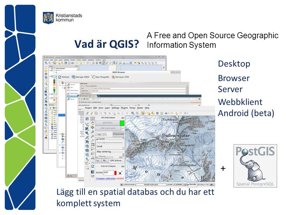 QGIS 2.2 Desktop Många format Vektor (OGR) Raster (GDAL) Spatiala databaser (PostGIS, Spatialite, Oracle, Microsoft) Kraftfull bearbetning och kartografi Analyser Presentationer och layout