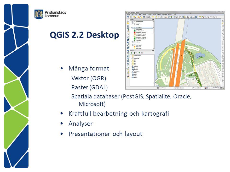 QGIS 2.2 Desktop Många format Vektor (OGR) Raster (GDAL) Spatiala databaser (PostGIS, Spatialite, Oracle, Microsoft) Kraftfull bearbetning och kartogr