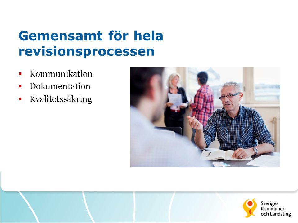 Gemensamt för hela revisionsprocessen  Kommunikation  Dokumentation  Kvalitetssäkring
