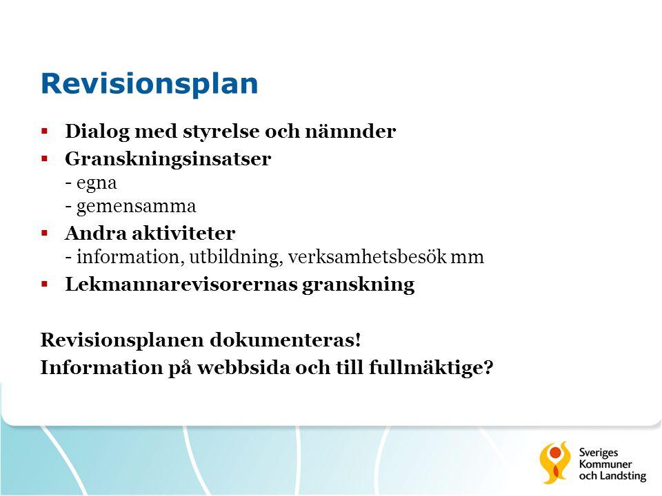 Revisionsplan  Dialog med styrelse och nämnder  Granskningsinsatser - egna - gemensamma  Andra aktiviteter - information, utbildning, verksamhetsbesök mm  Lekmannarevisorernas granskning Revisionsplanen dokumenteras.