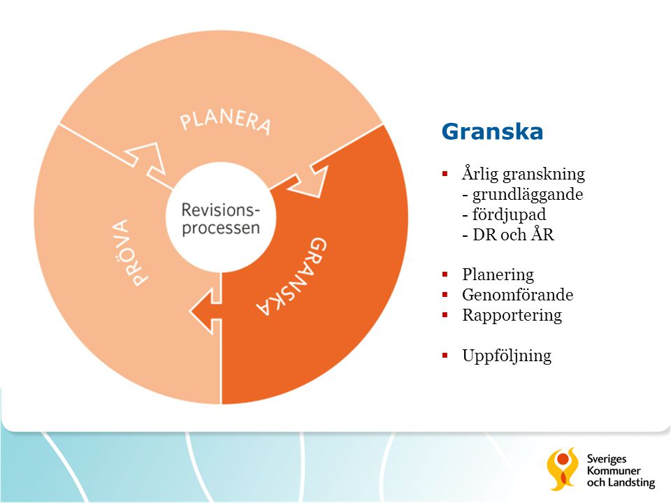 Granska  Årlig granskning - grundläggande - fördjupad - DR och ÅR  Planering  Genomförande  Rapportering  Uppföljning