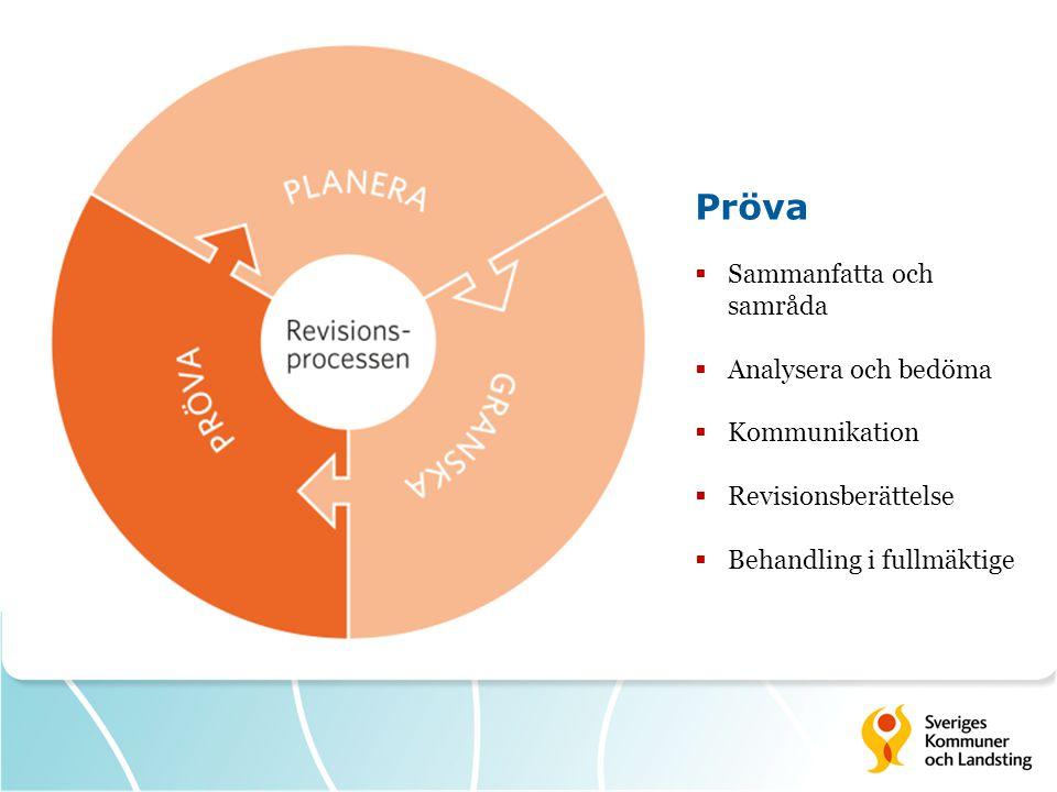 Pröva  Sammanfatta och samråda  Analysera och bedöma  Kommunikation  Revisionsberättelse  Behandling i fullmäktige