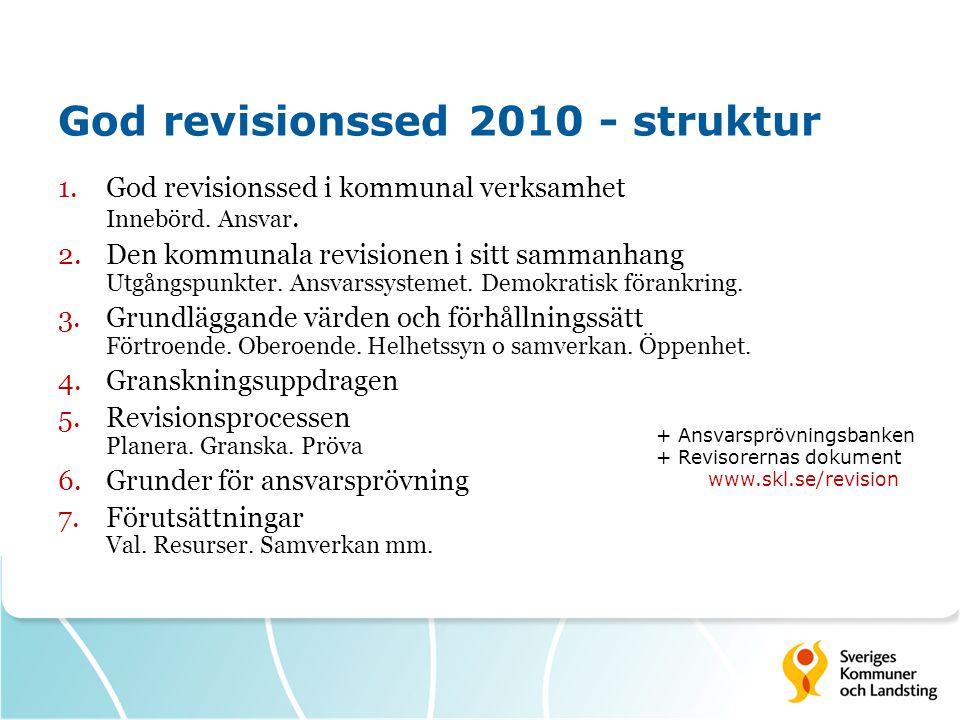 God revisionssed 2010 - struktur 1.God revisionssed i kommunal verksamhet Innebörd.