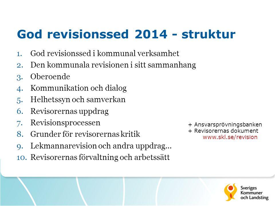 Viktigaste förändringarna  Revisorernas uppdrag – tydligare uttolkning/beskrivning  Revisionsprocessen – etablerar innehållet i årlig granskning; kopplar grundläggande granskning och riskanalys  Lekmannarevision m fl.