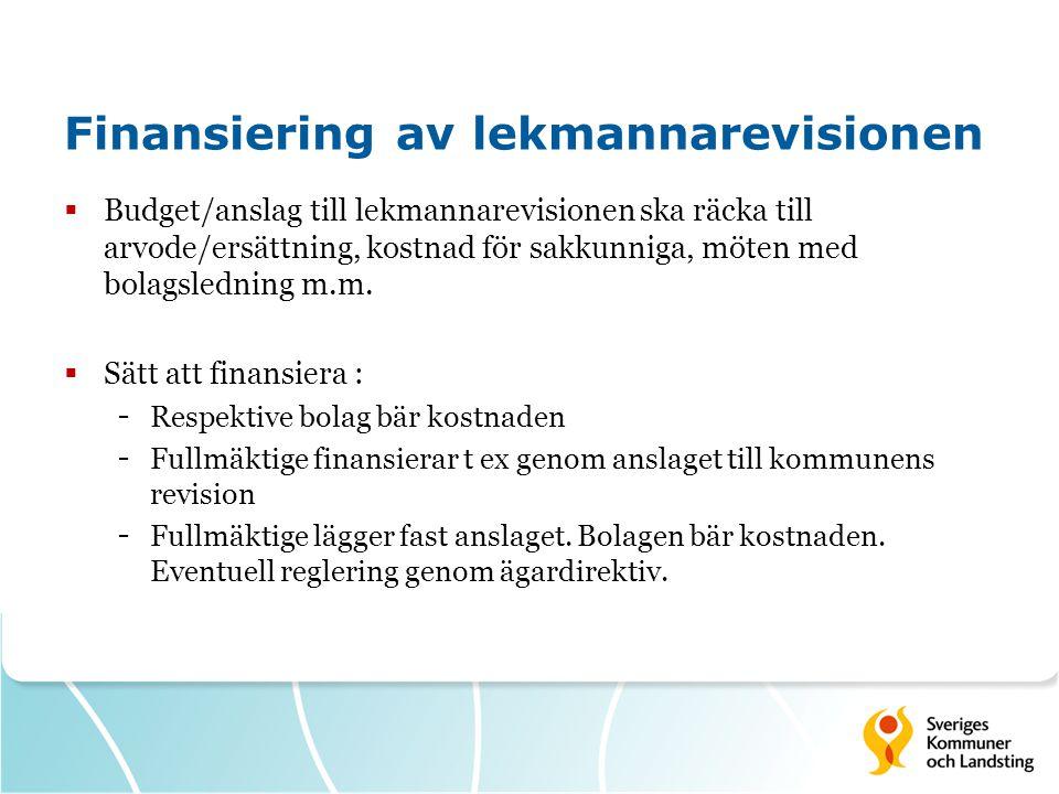 Finansiering av lekmannarevisionen  Budget/anslag till lekmannarevisionen ska räcka till arvode/ersättning, kostnad för sakkunniga, möten med bolagsledning m.m.