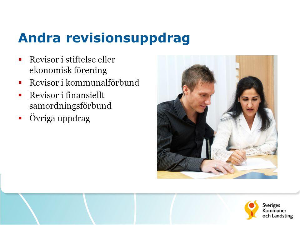 Andra revisionsuppdrag  Revisor i stiftelse eller ekonomisk förening  Revisor i kommunalförbund  Revisor i finansiellt samordningsförbund  Övriga uppdrag