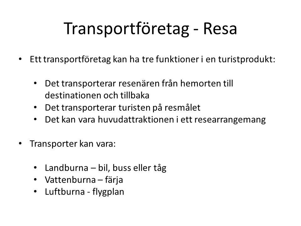 Transportföretag - Resa Ett transportföretag kan ha tre funktioner i en turistprodukt: Det transporterar resenären från hemorten till destinationen och tillbaka Det transporterar turisten på resmålet Det kan vara huvudattraktionen i ett researrangemang Transporter kan vara: Landburna – bil, buss eller tåg Vattenburna – färja Luftburna - flygplan
