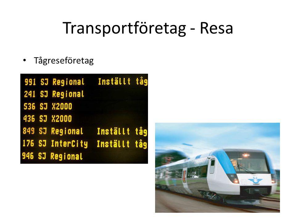 Transportföretag - Resa Tågreseföretag