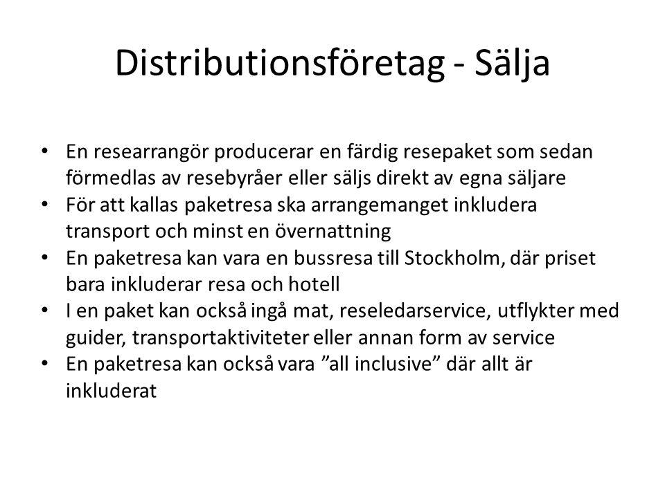 Distributionsföretag - Sälja En researrangör producerar en färdig resepaket som sedan förmedlas av resebyråer eller säljs direkt av egna säljare För att kallas paketresa ska arrangemanget inkludera transport och minst en övernattning En paketresa kan vara en bussresa till Stockholm, där priset bara inkluderar resa och hotell I en paket kan också ingå mat, reseledarservice, utflykter med guider, transportaktiviteter eller annan form av service En paketresa kan också vara all inclusive där allt är inkluderat